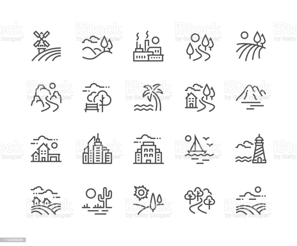 Line Landscape Icons - Lizenzfrei Agrarbetrieb Vektorgrafik