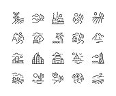 Simple Set of Landscape Related Vector Line Icons. \nContains such Icons as Farm, Megapolis, Desert and more.\nEditable Stroke. 48x48 Pixel Perfect.