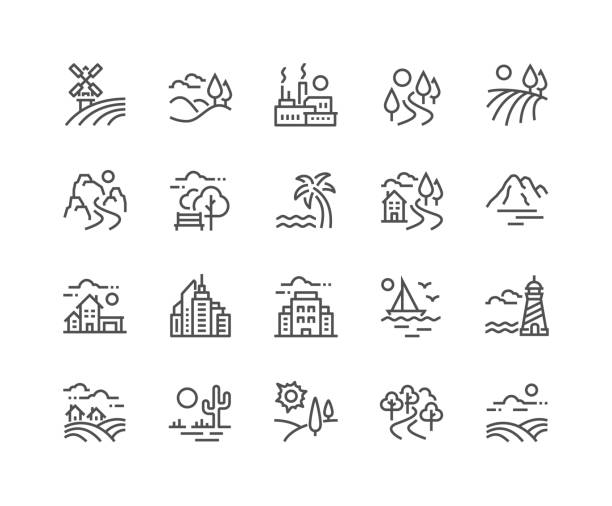 stockillustraties, clipart, cartoons en iconen met lijn landschap iconen - rivier