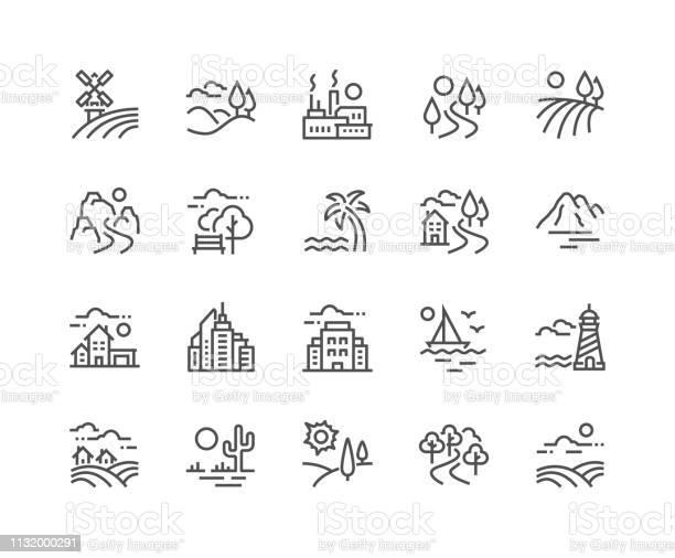 Line Landscape Icons Stock Vektor Art und mehr Bilder von Agrarbetrieb