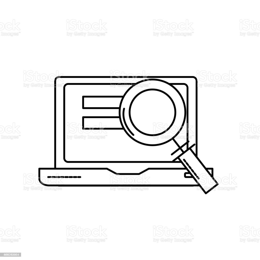 line laptop technology information with magnifying glass vector art illustration
