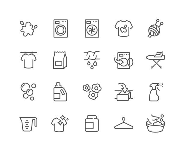 line laundry icons - bleach stock illustrations