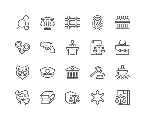 line law and justice icons - autorytet stock illustrations