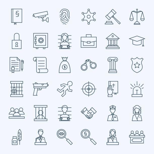 illustrations, cliparts, dessins animés et icônes de ligne avocat avocat et criminalité ensemble d'icônes - polices ligne fine