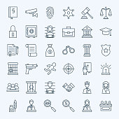 Line Lawyer Attorney and Crime Icons Set