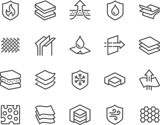 line layered material icons - 직물 stock illustrations