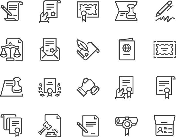 line legal documents icons - autorytet stock illustrations