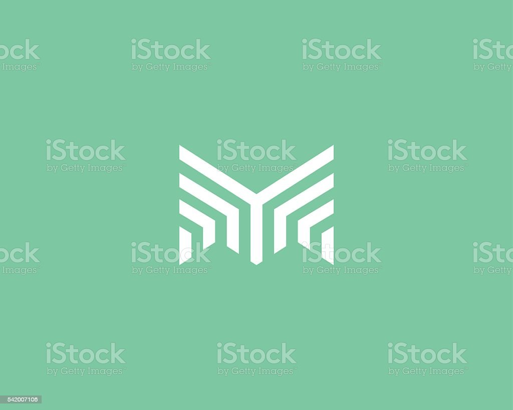 Line letter m logotype. Abstract moving airy logo icon design vector art illustration