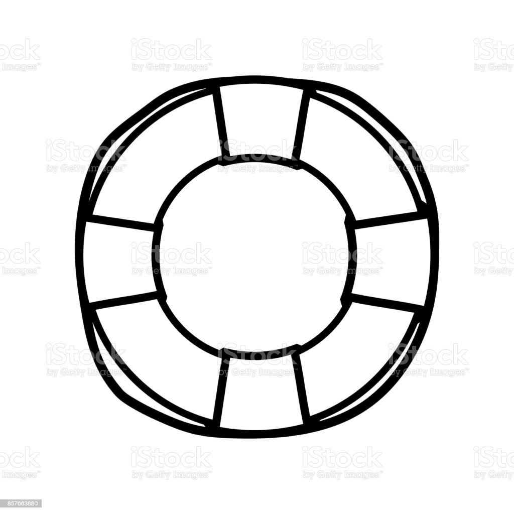 line life buoy object to security emergency vector art illustration