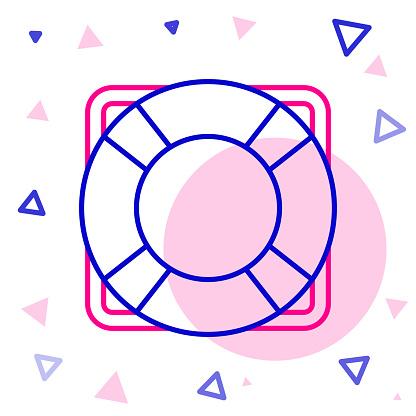 Line Lifebuoy icon isolated on white background. Lifebelt symbol. Colorful outline concept. Vector Illustration