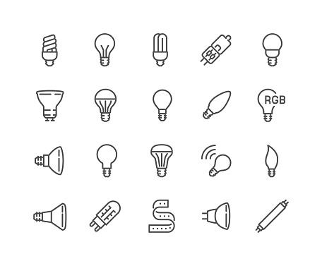 Line Light Bulb Icons