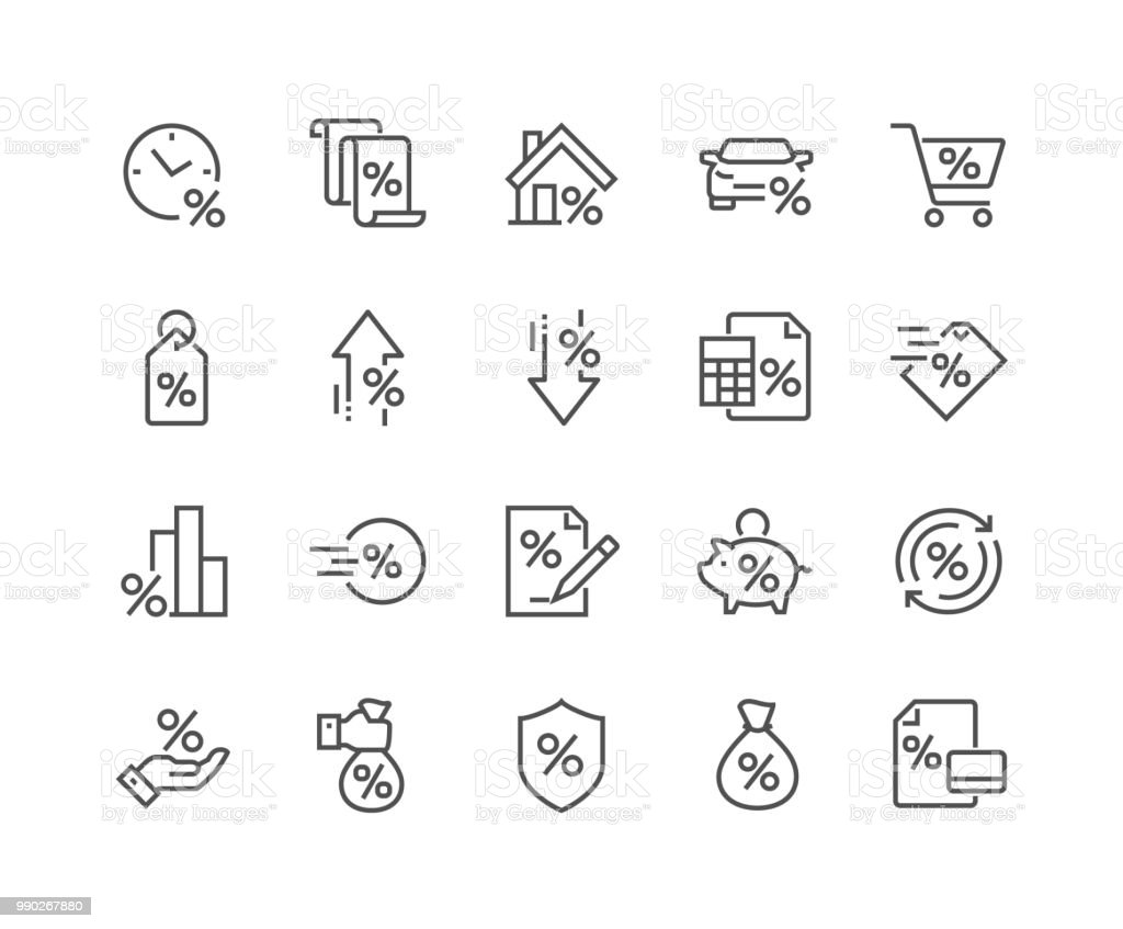 Line Loan Icons royalty-free line loan icons stock illustration - download image now