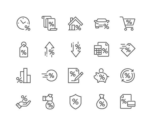 ilustrações, clipart, desenhos animados e ícones de ícones de empréstimo de linha - empréstimo