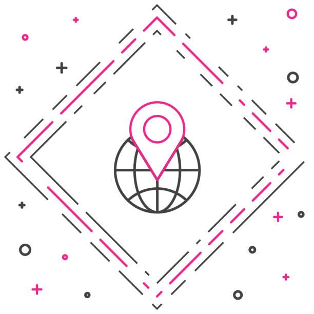 ilustrações de stock, clip art, desenhos animados e ícones de line location on the globe icon isolated on white background. world or earth sign. colorful outline concept. vector illustration - europe points