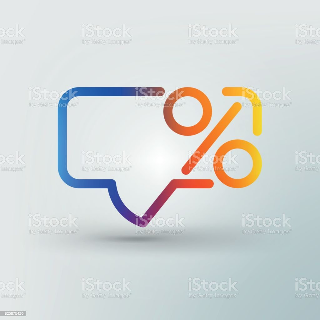 Line logo. Creative logo. A dialog box and a percent sign. Icon for the advertising campaign. vector art illustration