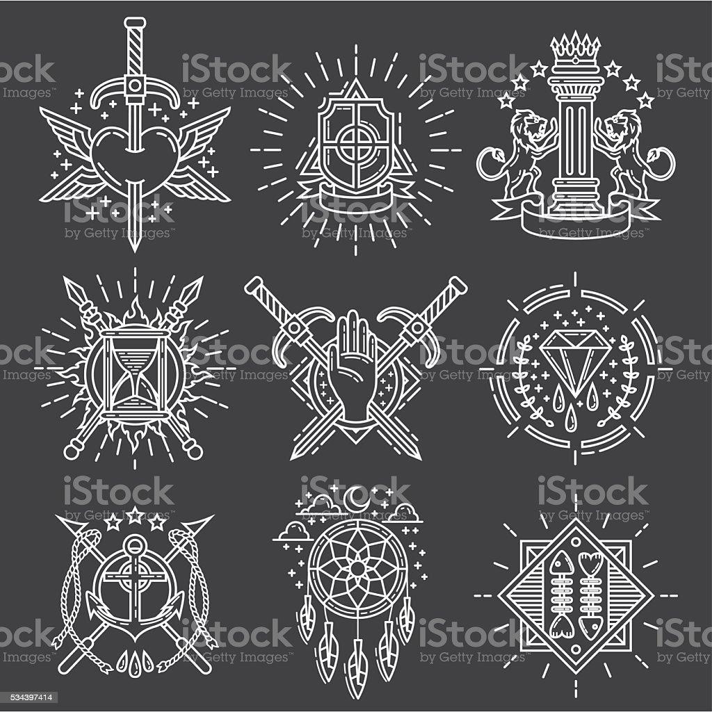 Línea de logotipos - ilustración de arte vectorial