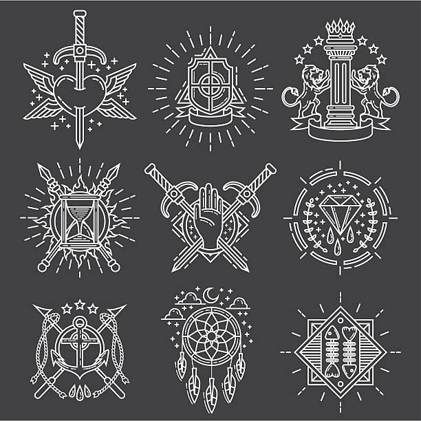 ilustraciones, imágenes clip art, dibujos animados e iconos de stock de línea de logotipos - tatuajes de espadas