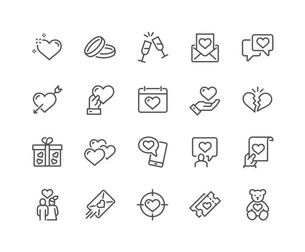 line love icons - couple stock illustrations