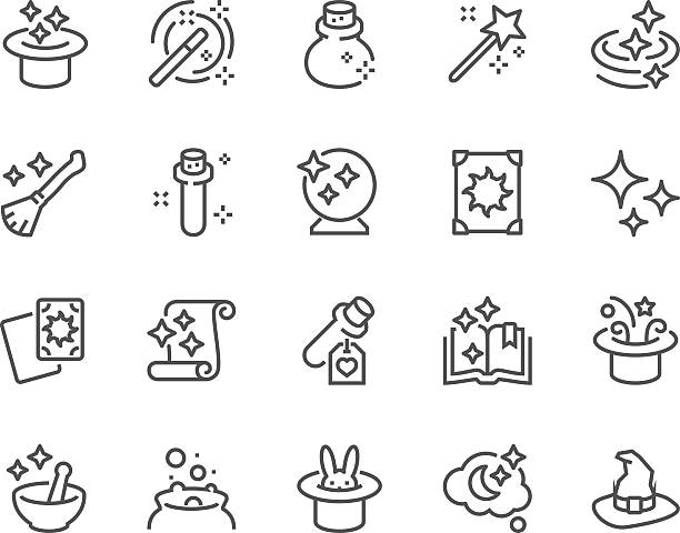 stockillustraties, clipart, cartoons en iconen met line magic icons - paranormaal