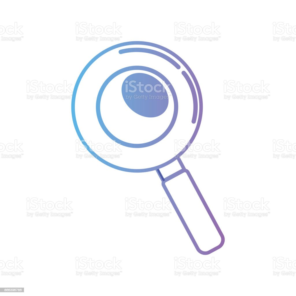 line magnifying glass and lens tool vector art illustration