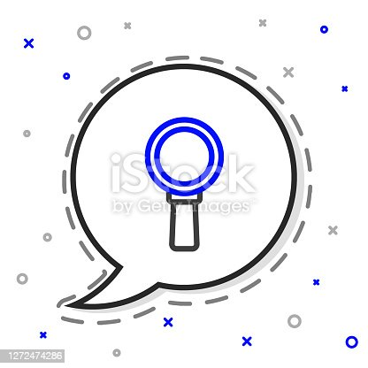 istock Line Magnifying glass icon isolated on white background. Search, focus, zoom, business symbol. Colorful outline concept. Vector 1272474286