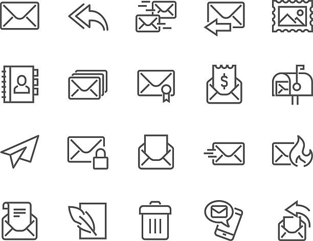 line mail icons - email icon stock illustrations, clip art, cartoons, & icons