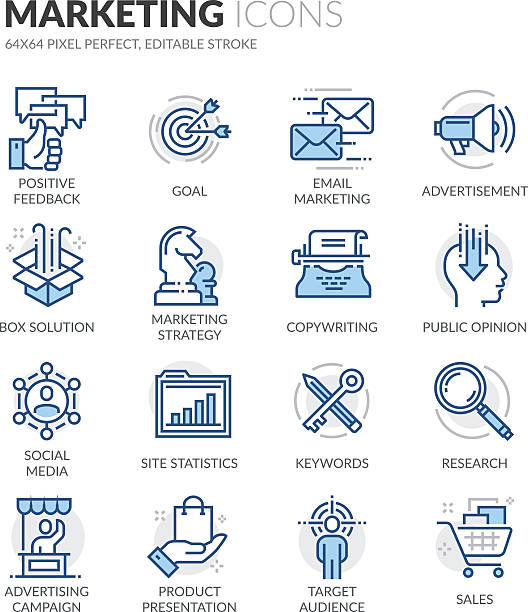 Line Marketing Icons Simple Set of Marketing Related Color Vector Line Icons. Contains such Icons as Email Marketing, Copywriting, Social Media, Box Solution and more. Editable Stroke. 64x64 Pixel Perfect. blue icons stock illustrations