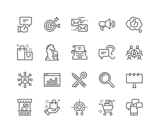 Line Marketing Icons Simple Set of Marketing Related Vector Line Icons. Contains such Icons as Mail Marketing, Target Audience, Keywording, Product Presentation and more. Editable Stroke. 48x48 Pixel Perfect. audience stock illustrations