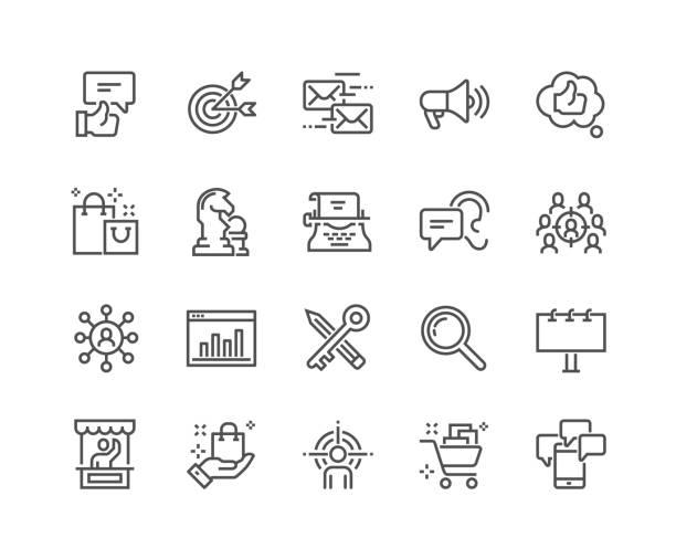 bildbanksillustrationer, clip art samt tecknat material och ikoner med line marknadsföring ikoner - social media