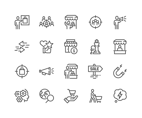 Line Marketing Strategy Icons