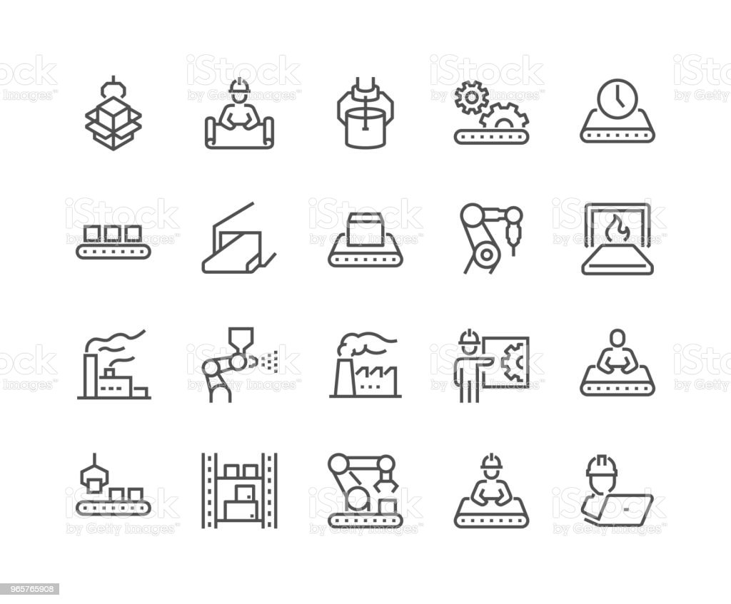 Line Mass Production Icons royalty-free line mass production icons stock illustration - download image now