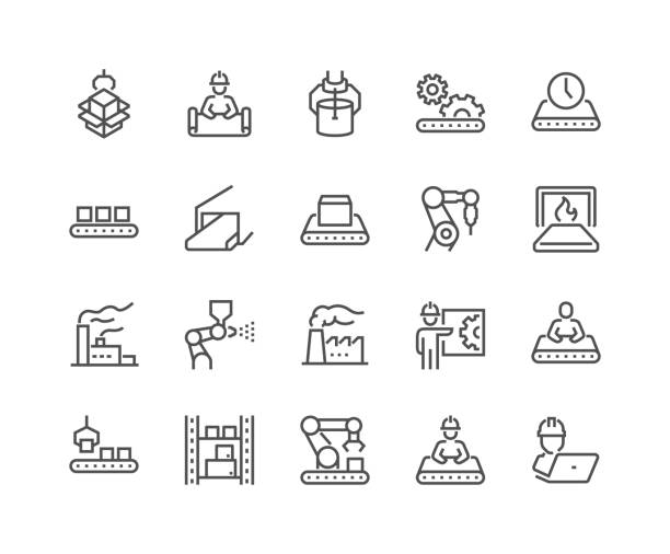 Line Mass Production Icons Simple Set of Mass Production Related Vector Line Icons. Contains such Icons as Industrial Oven, Robot Manipulator, Warehouse, Painting Bot and more. Editable Stroke. 48x48 Pixel Perfect. manufacturing stock illustrations