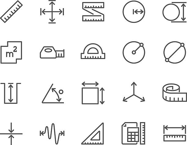 Line Measure Icons Simple Set of Measure Related Vector Line Icons. Contains such Icons as Radius, Diameter, Depth, Axis, Area and more. Editable Stroke. 48x48 Pixel Perfect. distant stock illustrations