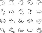Line Meat Icons
