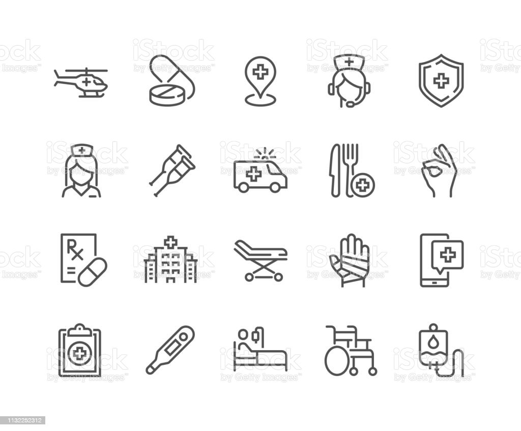 Lijn medische hulp iconen - Royalty-free Aankleden vectorkunst