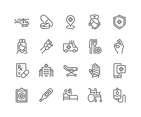Line Medical Assistance Icons clipart