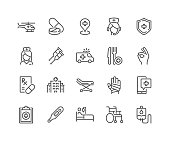 Simple Set of Medical Assistance Related Vector Line Icons. \nContains such Icons as Wheelchair, Special Diet, Hospital Locator and more.\nEditable Stroke. 48x48 Pixel Perfect.