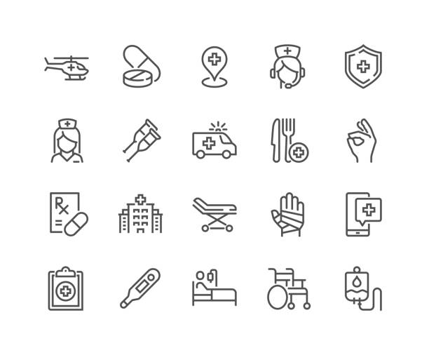 Line Medical Assistance Icons Simple Set of Medical Assistance Related Vector Line Icons.  Contains such Icons as Wheelchair, Special Diet, Hospital Locator and more. Editable Stroke. 48x48 Pixel Perfect. medical stock illustrations