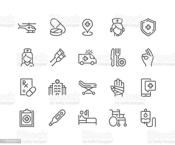 Lijn Medische Hulp Iconen Stockvectorkunst en meer beelden van Aankleden