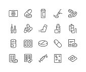 Simple Set of Medical Drugs Related Vector Line Icons. \nContains such Icons as Prescription, Inhaler, Pill and more.\nEditable Stroke. 48x48 Pixel Perfect.