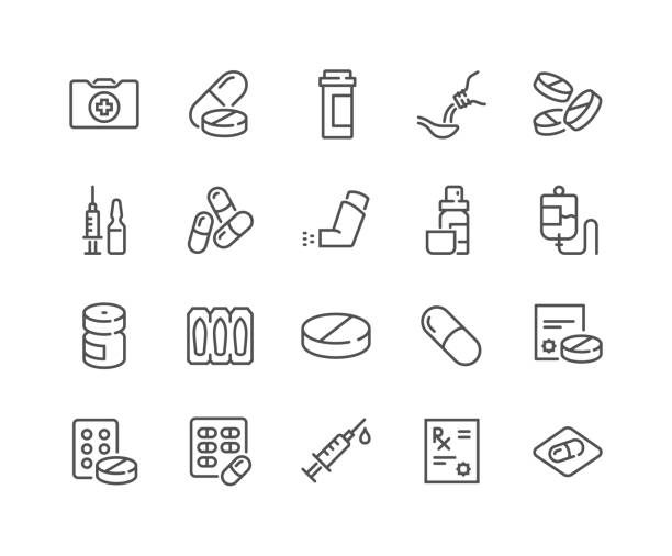 Line Medical Drugs Icons Simple Set of Medical Drugs Related Vector Line Icons.  Contains such Icons as Prescription, Inhaler, Pill and more. Editable Stroke. 48x48 Pixel Perfect. medecin stock illustrations