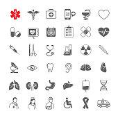 Line medical icons set general, tools, organs, symbols