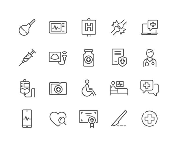 stockillustraties, clipart, cartoons en iconen met lijn medische pictogrammen - medicijnen apotheek