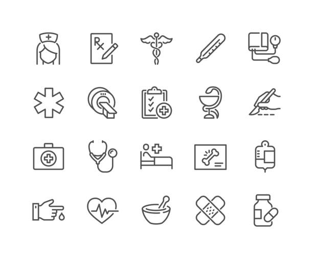 Line Medical Icons Simple Set of Medical Related Vector Line Icons.  Contains such Icons as MRI, Prescription, Surgery and more. Editable Stroke. 48x48 Pixel Perfect. healthcare and medicine stock illustrations