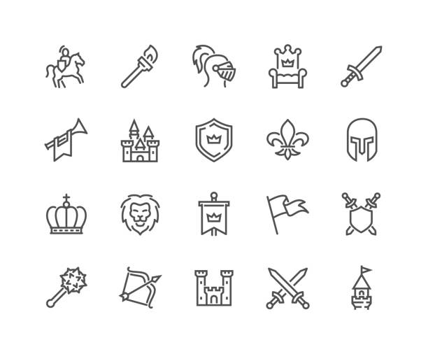 Line Medieval Icons Simple Set of Medieval Related Vector Line Icons.  Contains such Icons as Knight, Castle, Crown and more. Editable Stroke. 48x48 Pixel Perfect. castle stock illustrations