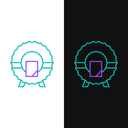 Line Memorial wreath icon isolated on white and black background. Funeral ceremony. Colorful outline concept. Vector
