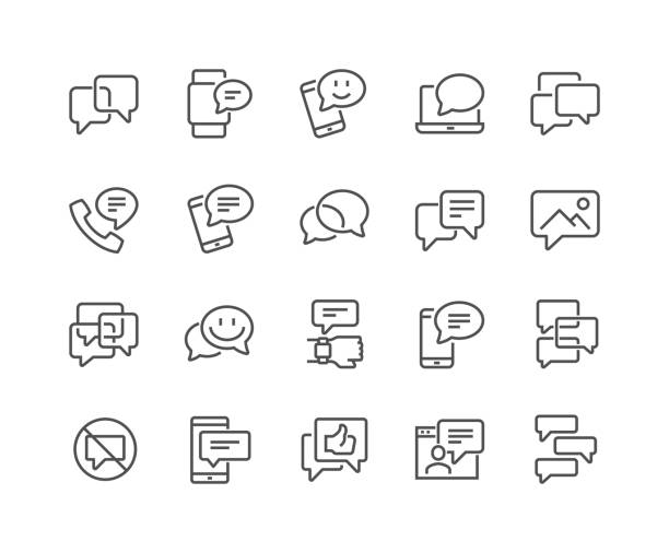 Line Messages Icons Simple Set of Message Related Vector Line Icons. Contains such Icons as Conversation, SMS, Notification, Group Chat and more. Editable Stroke. 48x48 Pixel Perfect. debate stock illustrations