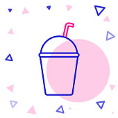 istock Line Milkshake icon isolated on white background. Plastic cup with lid and straw. Colorful outline concept. Vector Illustration 1270307639
