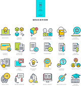 Line modern color icons on the theme of education