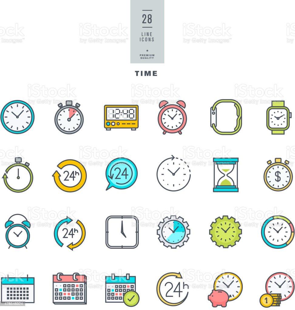 Moderner Farbe icons set auf das Thema Zeit – Vektorgrafik